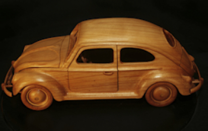 VOLKSWAGEN BEETLE 1955 WOOD SCALE MODEL